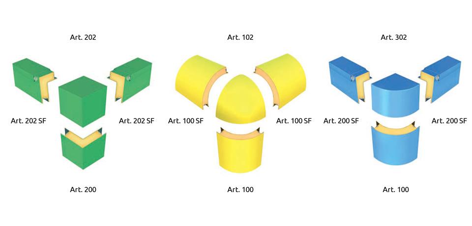 Raccordi d'angolo in polimero (retto, sferico e curvo)  | Angle foam (curved and straight) - © Copyright Elcom System Spa - Tutti di diritti riservati / All rights reserved