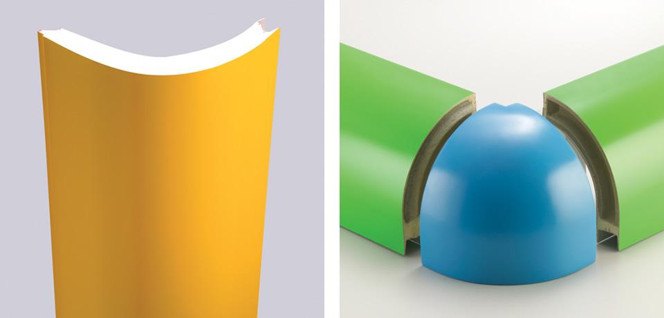 Angolo schiumato curvo | Vertical angle foam and curved glass joint corner polymer - © Copyright Elcom System Spa - Tutti di diritti riservati / All rights reserved